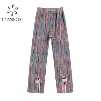 High Waist Casual Long Pants Women Summer 2021 Harajuku Hip-hop Vintage Print Wide Leg Trousers Unisex Loose Gothic Streetwear 1