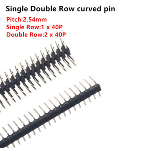 5pcs 90 Degree 2.54mm Pitch Single/Double Row Curved Needle Pin Header 1 X 40P/2 X 40P Pin Connector