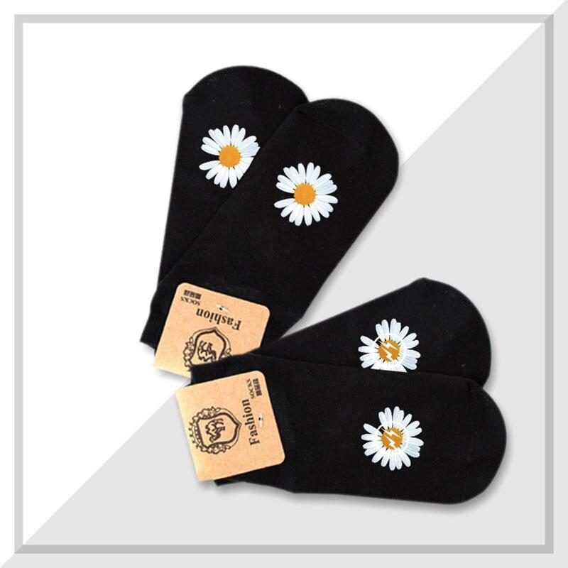 KPOP 2PCS/Pair G-Dragon Daisy Printing Elastics Socks PEACEMINUSONE Male Female Accessories Jh296