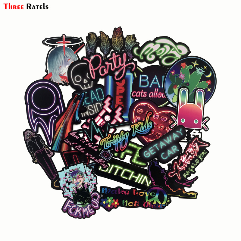 Three Ratels 25pcs Neon Light Stickers Cool Funny Car Styling Bomb JDM Decals Animal Cartoon Toy Bike Motorcycle Phone Laptop