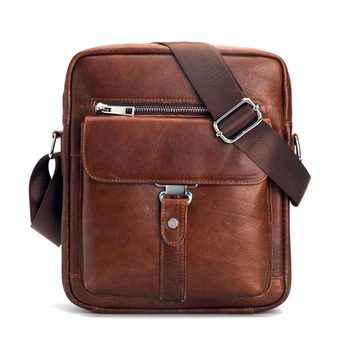 Casual Shoulder Men's Bag Genuine Leather High Quality Male Bolsa Belts Cross-body Bag for Business Flap Brown Bags Luxury Brand
