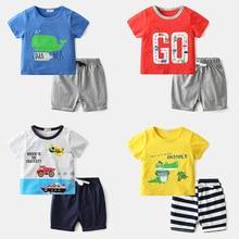 цена Baby Clothing Sets 24M-6T Summer Baby Boys Clothes Infant Soft Cartoon Cotton Boys Tops T-shirt+pants Outfits Kids Clothes Set онлайн в 2017 году