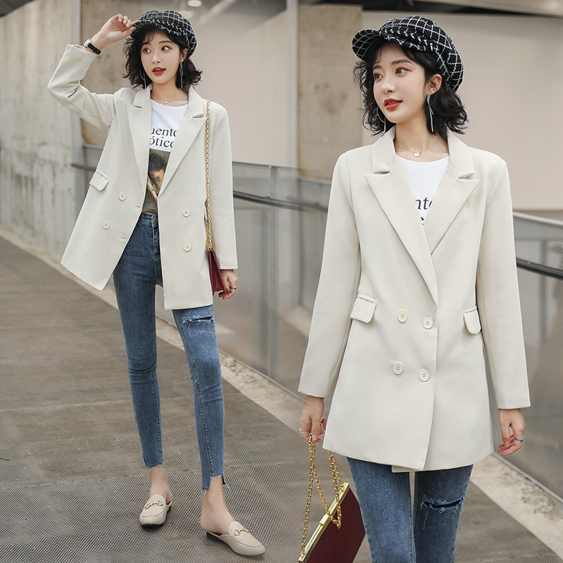 Women's jacket feminine white fashion loose double-breasted mid-length ladies blazer coat Casual small suit high quality 2020
