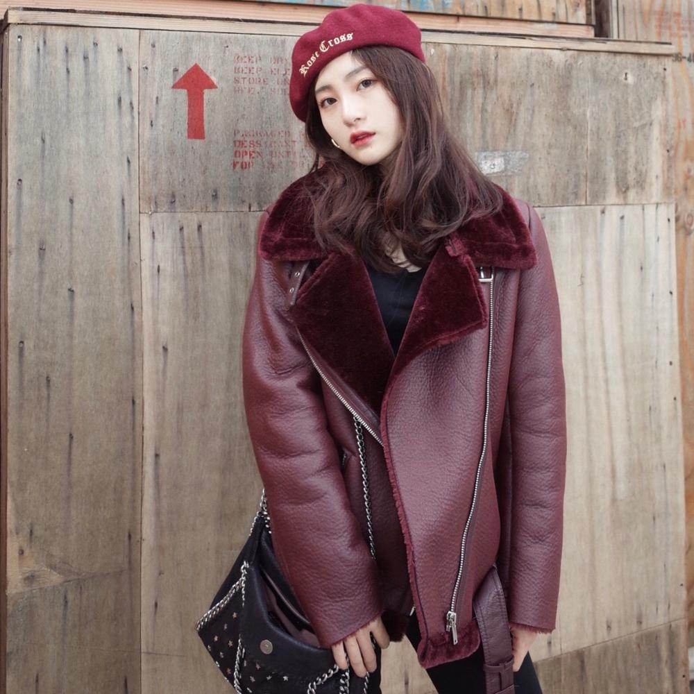 Winter Automotive Womens Fur Lined Jackets White Black Red Color Russian Leather Coats Female Faux Fur Leather Jackets Overcoats