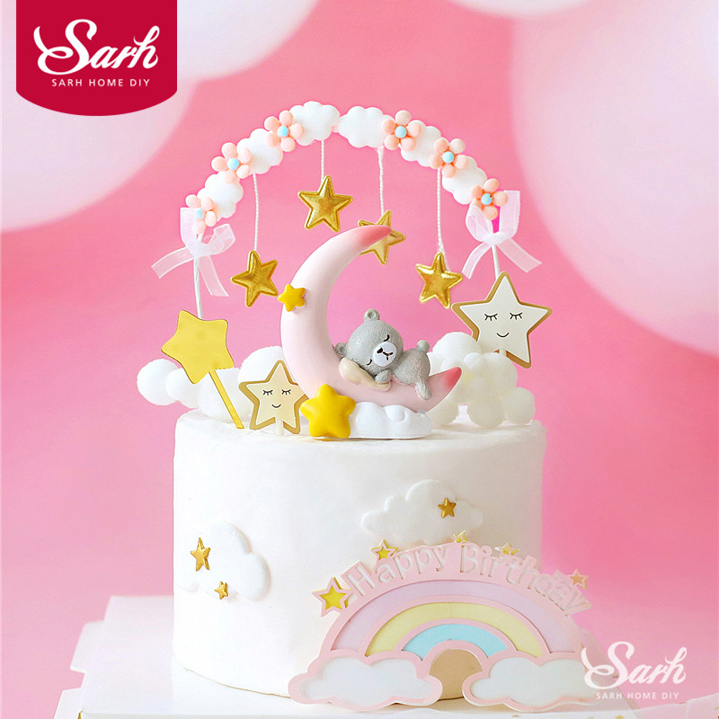 Star Tassel Arch Cake Toppers Unicorn Angel Moon Bear Decorations for Baby Shower Kid Birthday Party Baking Supplies Love Gifts