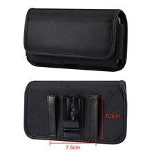 Universal 4.7-7.2 polegada telefone bolsa cinto clipe caso de couro para samsung iphone xiaomi huawei lg sony nokia oxford pano saco da cintura