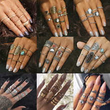 33 Styles Women Bohemian Vintage Crown Wave Flower Heart Lotus Star Crystal Opal Joint Ring Party Jewelry Silver Ring Set()