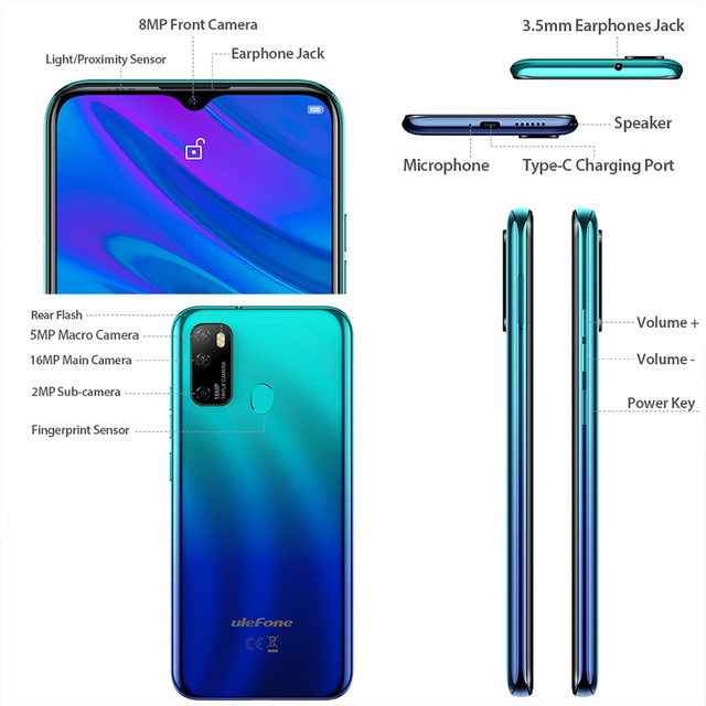 Ulefone Note 9P 6.52''HD+ Android 10 4GB 64GB 16MP Smartphone MT6762V Waterdrop Screen Octa Core 5V/2A 4G 4500mAh Mobile Phone 3