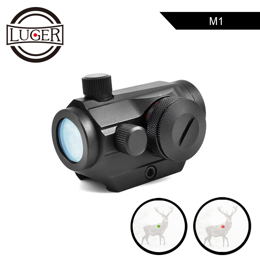 LUGER Hunting Rifle Scope Red Green Dot Airsoft Tactical Holographic Optical Aiming Sight Scope 20mm Rail Air Gun Riflescopes