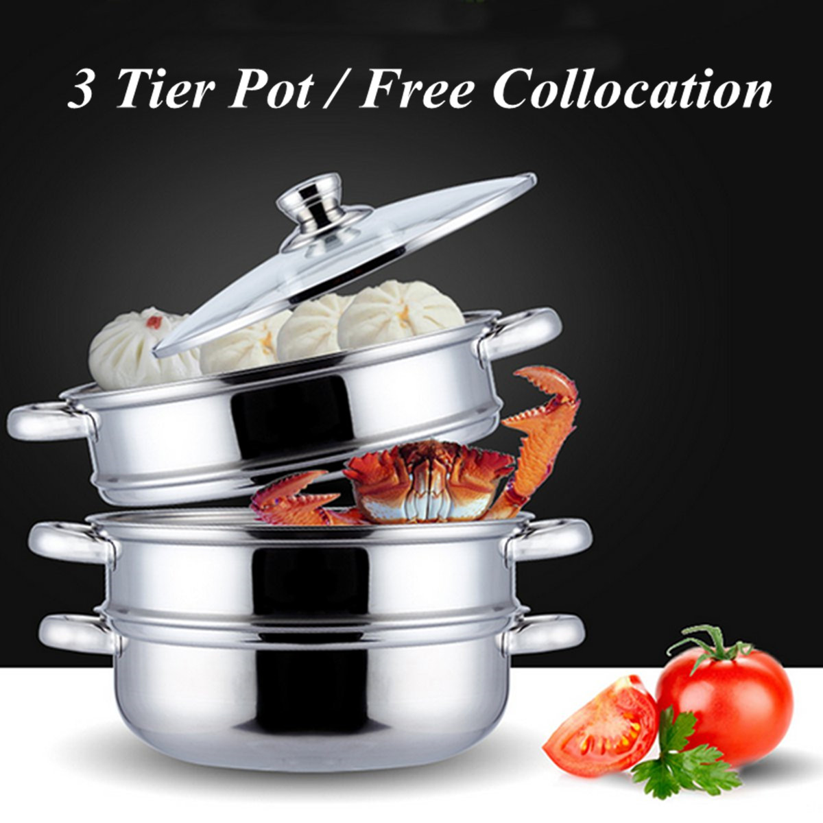 3 Tier Stainless Steel Steamer Saucepan Pot Thicken Boiler Induction Compatible Home Kitchen Steaming Soup Pot Steamer Cookware