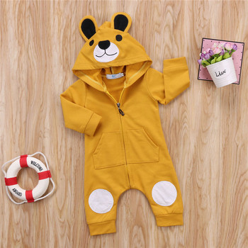 2019 Baby Boy Bear Romper Newborn Baby Girl Clothes Hooded Jumpsuit With Bear Ears Outfits Clothing For 0-24 Months baby rompers autumn long sleeve newborn baby boy girl bear toddler jumpsuit romper baby clothes hooded 2018 cute clothing 2yrs