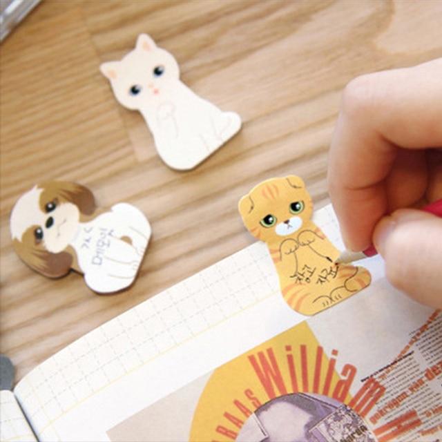Kawaii Anime boîte Notes autocollantes dessin animé 3D chat chien MemoPad école papeterie mignon signet mémo papier pour accessoires de bureau