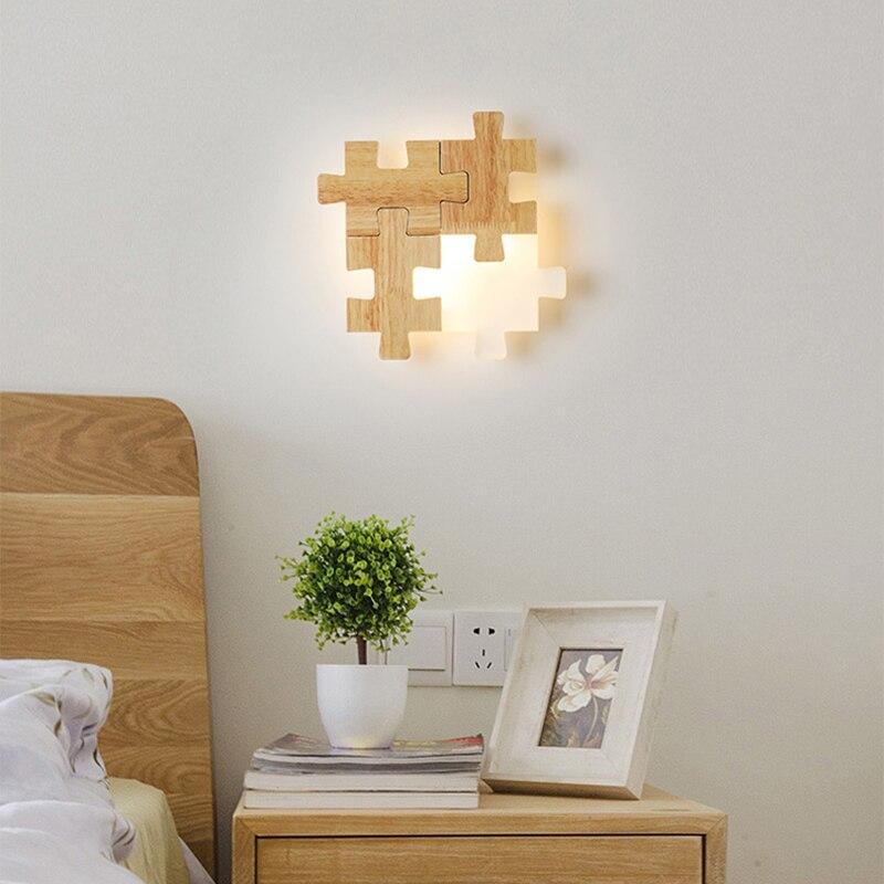Скандинавские прикроватные проходы светодиодный настенный светильник сочетание головоломки личности творческой твердой древесины спаль... - 5