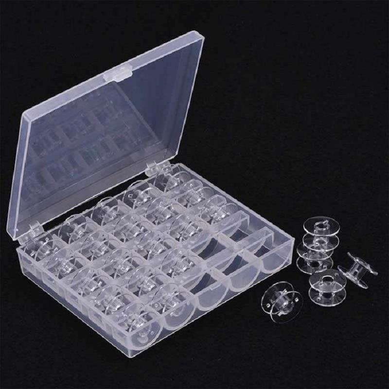 25 Pcs Transparent Sewing Machine Bobbins Spools Empty Bobbins Spools Plastic Storage Box For Home Sewing Accessories Tools