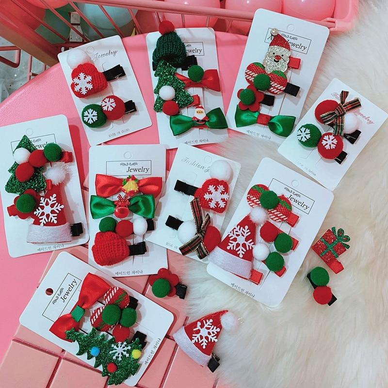 4PCS Cute Christmas Hairpin Set Toddler Hair Clips Santa Claus Hair Pins Butterfly Hair Clip Baby Girl Headdress Duckbill Clip