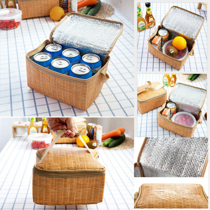 Fresh Insulation Lunch Bag Rattan Women Men Kids Lunch Bag Tote Bag Lunch Organizer Lunch Holder Lunch Storage Container
