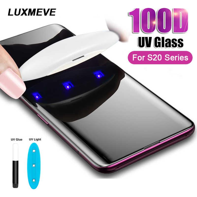 100D UV الزجاج المقسى لسامسونج غالاكسي S20 S10 S8 S9 زائد نانو السائل حامي الشاشة لسامسونج نوت 10 برو S7 حافة الزجاج