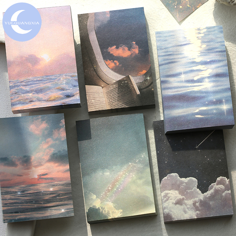 YUEGUANGXIA 100pcs/lot Minimalist Ins Style Fireworks Star Ocean Loose Leaf Memo Pads Artsy Style Memo Pads Office Decoration