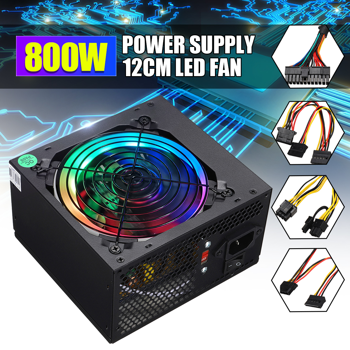 Max 800W Power Supply PSU PFC LED Silent Fan ATX 24pin 12V PC Computer SATA Gaming PC Power Supply For Intel AMD Computer |PC Power Supplies| |  - title=