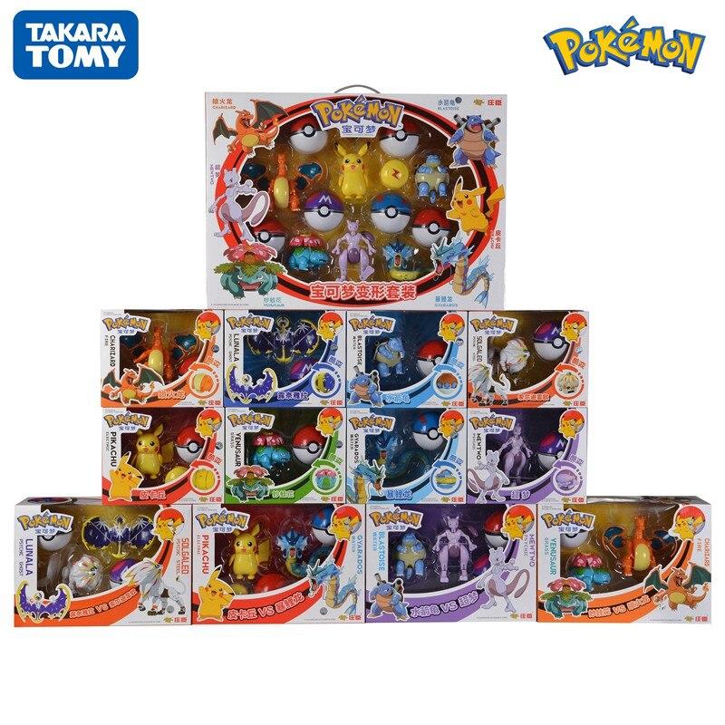 The Original TOMY Pokemon Toy Set Pocket Monster Pikachu Action Figure Game Model Dolls Toys For Children's Birthday Gift