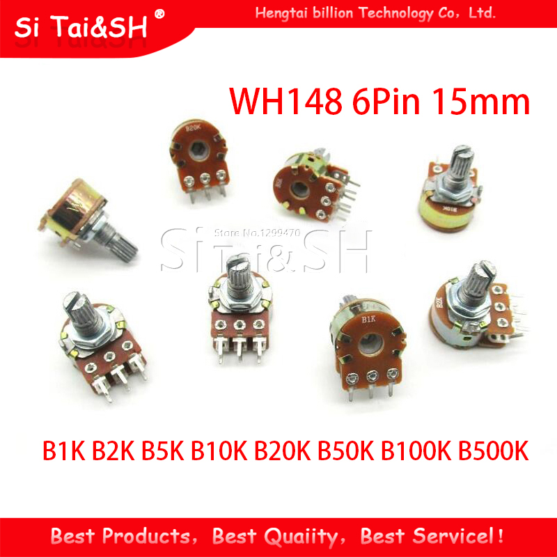30pcs B1K B2K B5K B10K B20K B50K B100K B500K 15mm <font><b>6Pin</b></font> Shaft <font><b>WH148</b></font> Amplifier Dual Stereo Potentiometer image