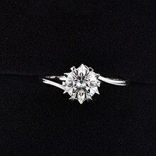 925 כסף סטרלינג Moissanite טבעת 1ct IJ צבע יהלומי מעבדה תכשיטי Snowflake סגנון יום נישואים טבעת