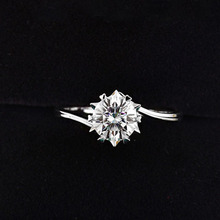 925 Sterling Silver Moissanite Ring 1ct IJ color Lab Diamond jewelry Snowflake style Anniversary Ring