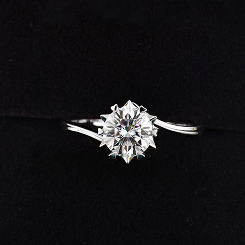 Custom Made 925 Sterling Silver Moissanite Ring 1ct IJ Color Lab Diamond Jewelry Snowflake Style Anniversary Ring