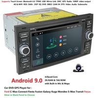 Hizpo 2 Din Android 9.0 Quad 4 Core Car DVD Player GPS Navigation WIFI 4G for FORD S Max Kuga Fusion Transit Fiesta Focus II SWC