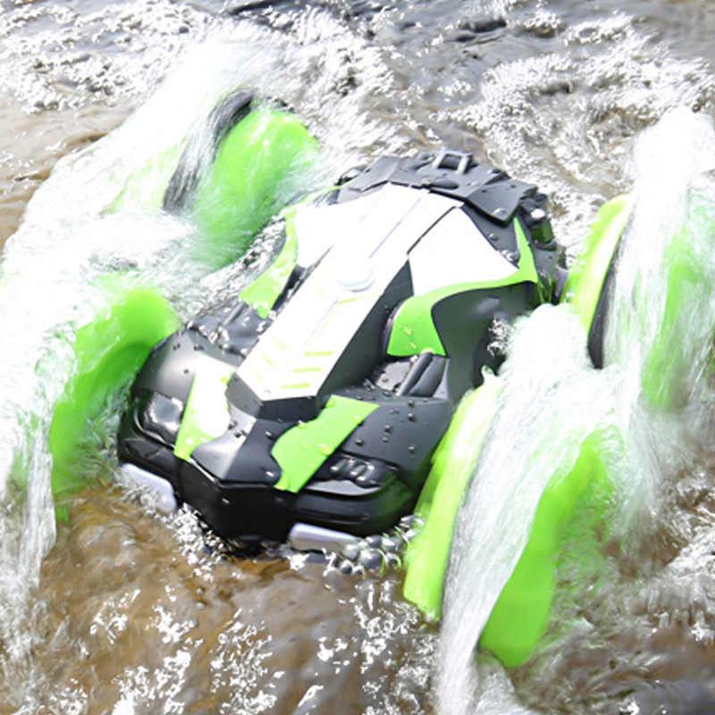 2.4Ghz pilot Rc samochód wodoodporny Off wyścigi drogowe zdalnie sterowany samochód wspinający się amfibia 4Wd zabawki zdalnie sterowane samochody Rc, zielony