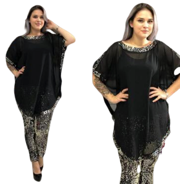 2019 Autumn Elegent African Women O-neck Plus Size Two Pieces Sets Top And Pant