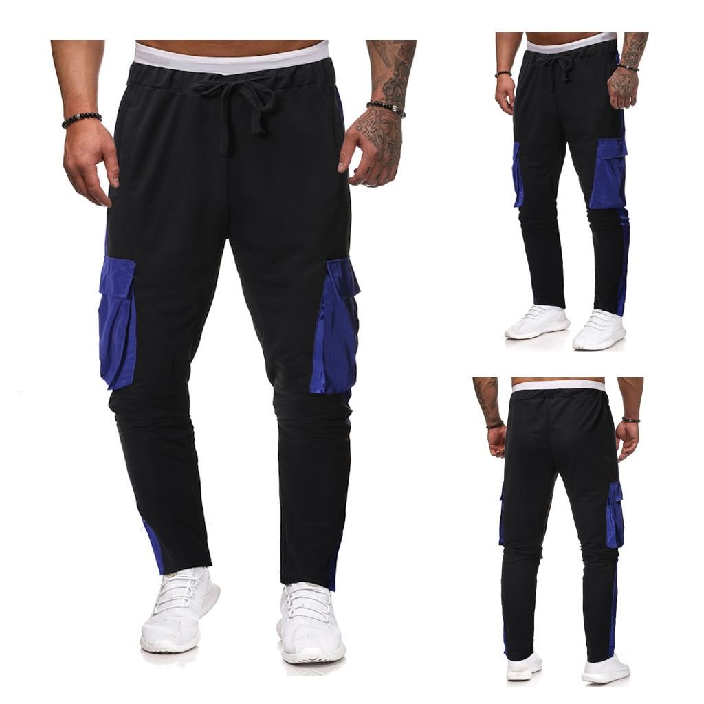 2019 Mens Pants For Male Casual Sweatpants Fashion Men's Casual Solid Loose Patchwork Color Sweatpant Trousers Jogger Pant M-2XL