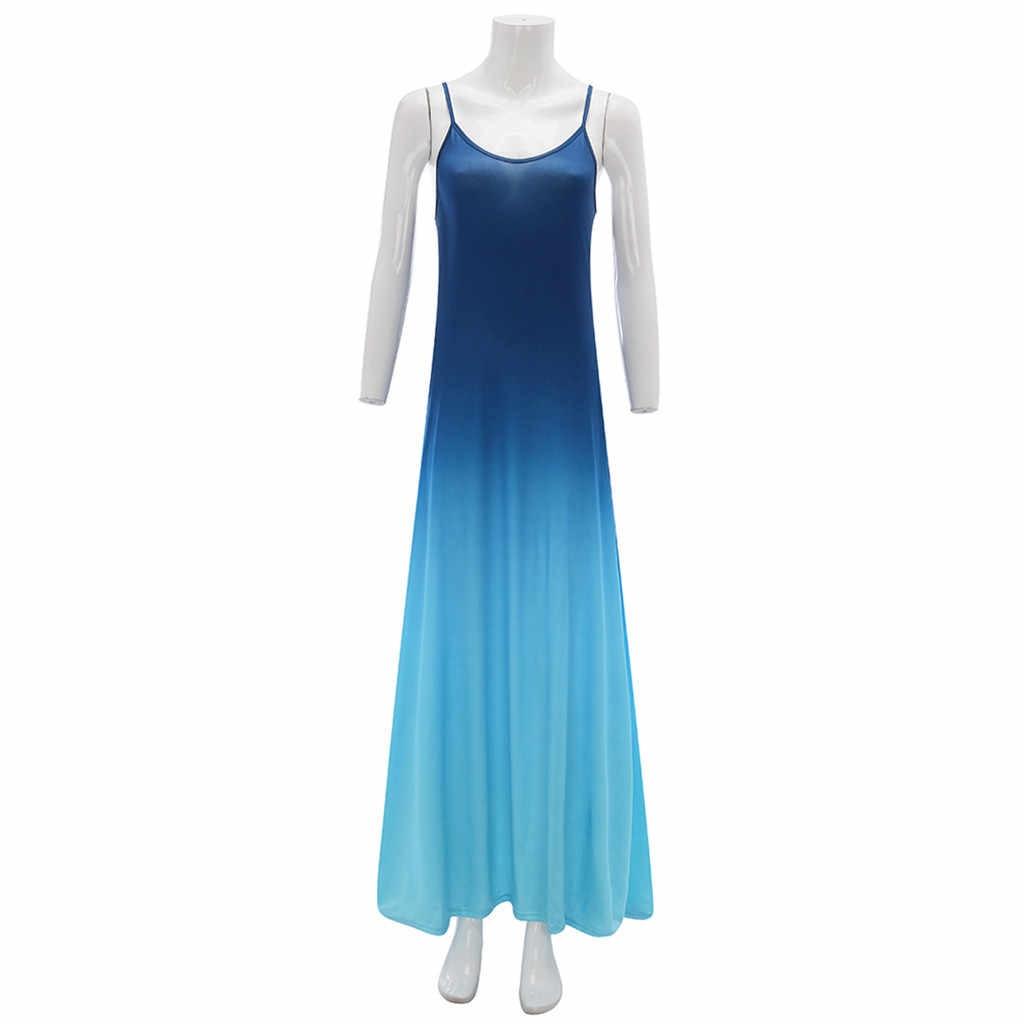 2020 נשים Loose רצועת שמלת צבעים קיץ סקסי Boho קשת Camis Befree מקסי שמלה בתוספת גדלים גדול גדול שמלות Robe femme W8