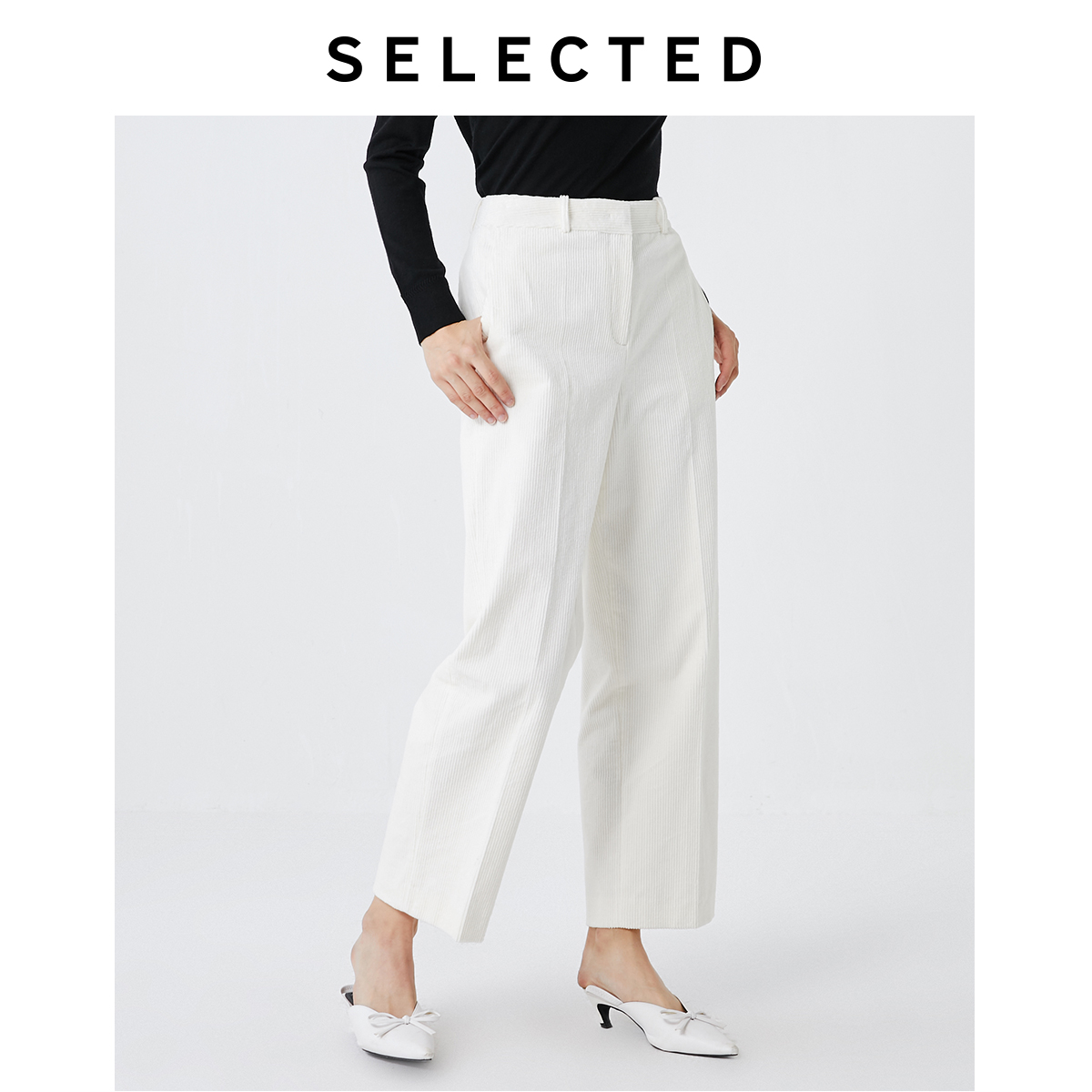 SELECTED Women Straight Fit Corduroy Pure Color Mid-rise Crop Pants S|419418506