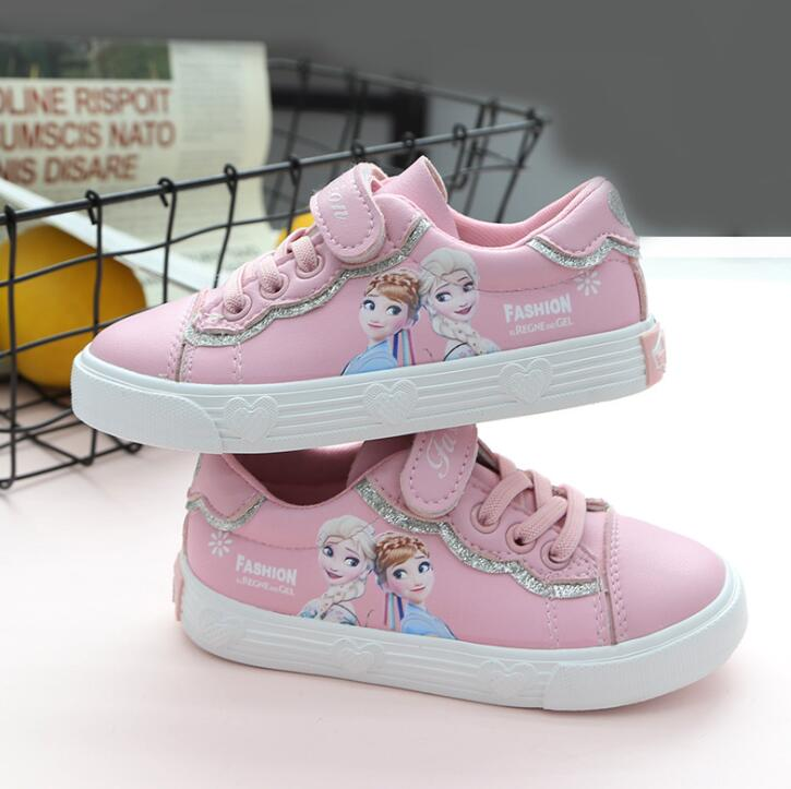 Spring New Children Shoes Girls Sneakers Elsa Anna Princess Kids Shoes For Girl Casual White Leather Kids Sneakers For Girls