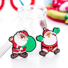 Cartoon Silicone Santa Claus Snowman Xmas Tree Key Ring Pendants Christmas Keychain New Year Gift(China)