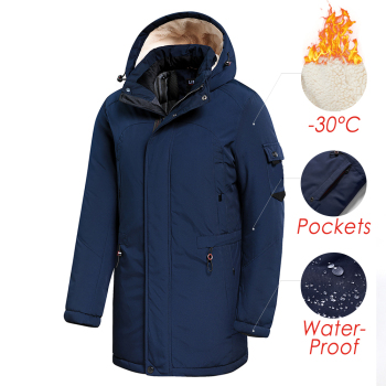Men 2020 Winter New Casual Long Thick Fleece Hooded Waterproof Parkas Jacket Coat Men Outwear Fashion Pockets Parka Jacket 46-58