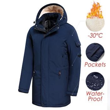 Men 2020 Winter New Casual Long Thick Fleece Hooded Waterproof Parkas Jacket Coat Men Outwear Fashion Pockets Parka Jacket 46-58