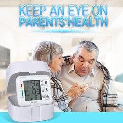 Digital Blood Pressure Monitor Household Heart Rate Pulse Tonometer LCD Display Portable Wrist Type Electronic Sphygmomanometer