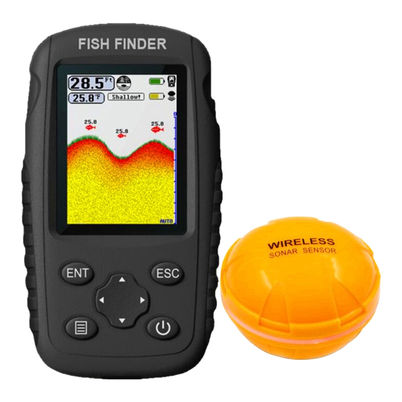 Portable Rechargeable Fish Finder Wireless Sonar Sensor Fishfinder Depth Locator with Fish Size Water Depth/Temperature