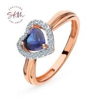 SKM Vintage heart shape rings for women sapphire rings 14k rose gold Engagement rings designer Luxury Fine Jewelry