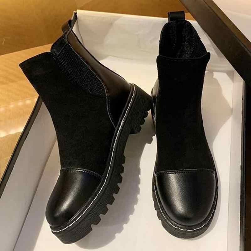 2020 Thu Đông Phong Cách Mới Nữ Mắt Cá Chân Giày Nữ Chelsea Boot Nữ Co Giãn Giày Nữ Giày Nữ Nông