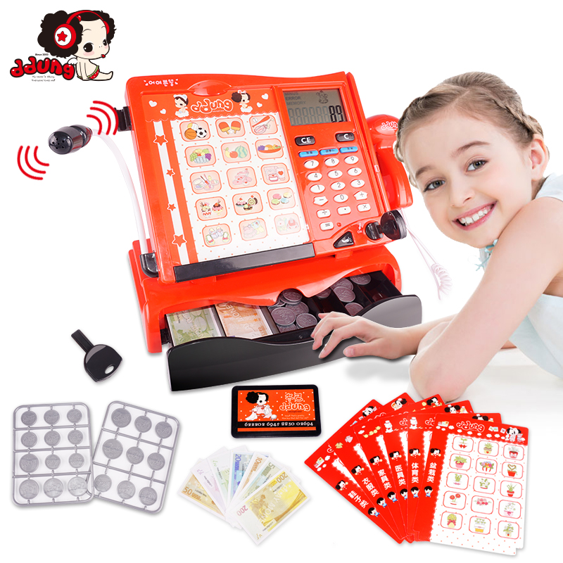 Ddung Pretend Play Toys Cash Register Set 3Y+ Shopping Supermarket Microphone Calculation Swipe Kids Birthday Gift