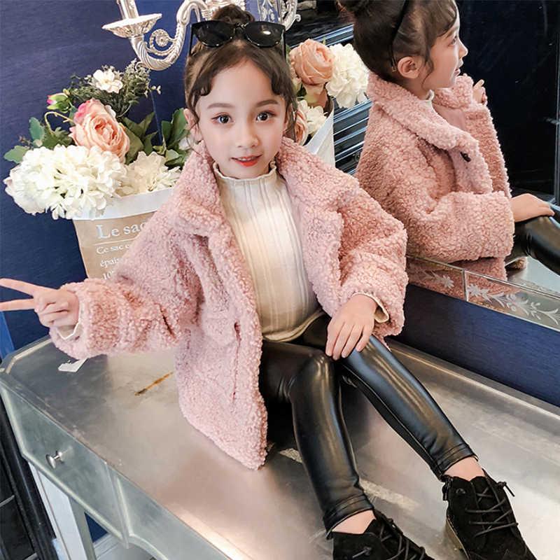 2019 winter thick warm lamb fur coat girls fashion wild girl jacket little girl princess fan