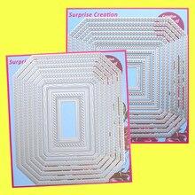 2 סט גדול חיתוך מת מצולע מלבן & כיכר Cardmaking רעיונות נייר קרפט DIY מתכת סטנסיל יצירת הפתעה מת