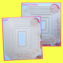 2 Set Large Cutting dies Polygon Rectangle & Square Cardmaking Scrapbooking Paper Craft DIY Metal Stencil Surprise Creation dies