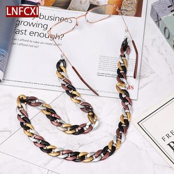 LNFCXI Retro 70cm Acrylic Reading Glasses Hanging Neck Chain Sunglasses Largands 23 Colors Sun Strap