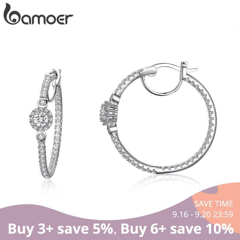 BAMOER New Arrival Silver Color Hyperbole Big Round Circle Clear CZ Cubic Zircon Stud Earrings for Women Jewelry YIE137