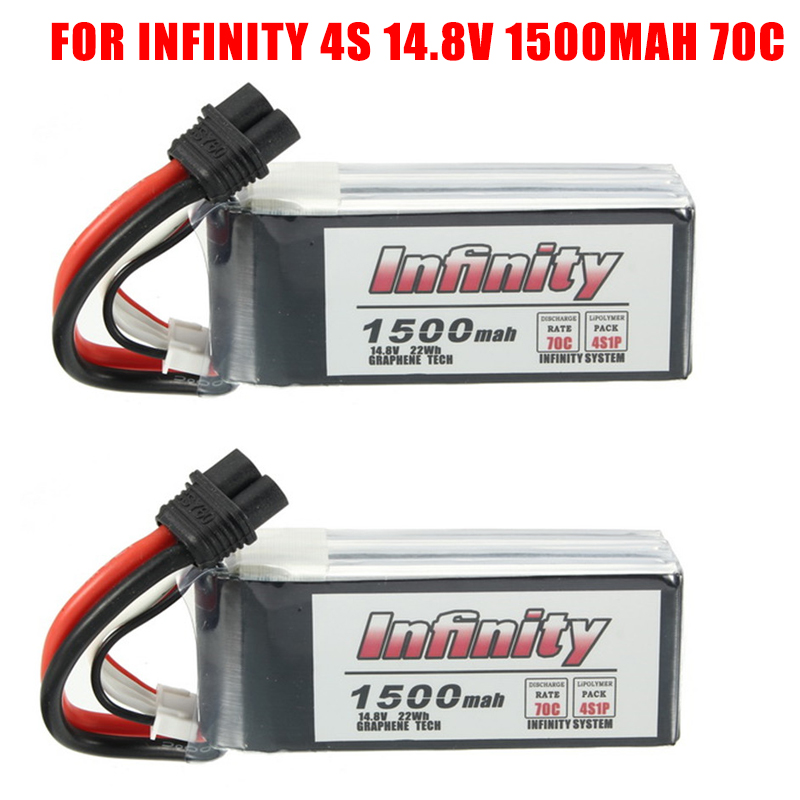 1 / 2PCS for Infinity <font><b>4S</b></font> 14.8V <font><b>1500mAh</b></font> 70C Graphene <font><b>LiPo</b></font> Battery Rechargeable XT60 Plug Connector Support 15C Boosting Charger image