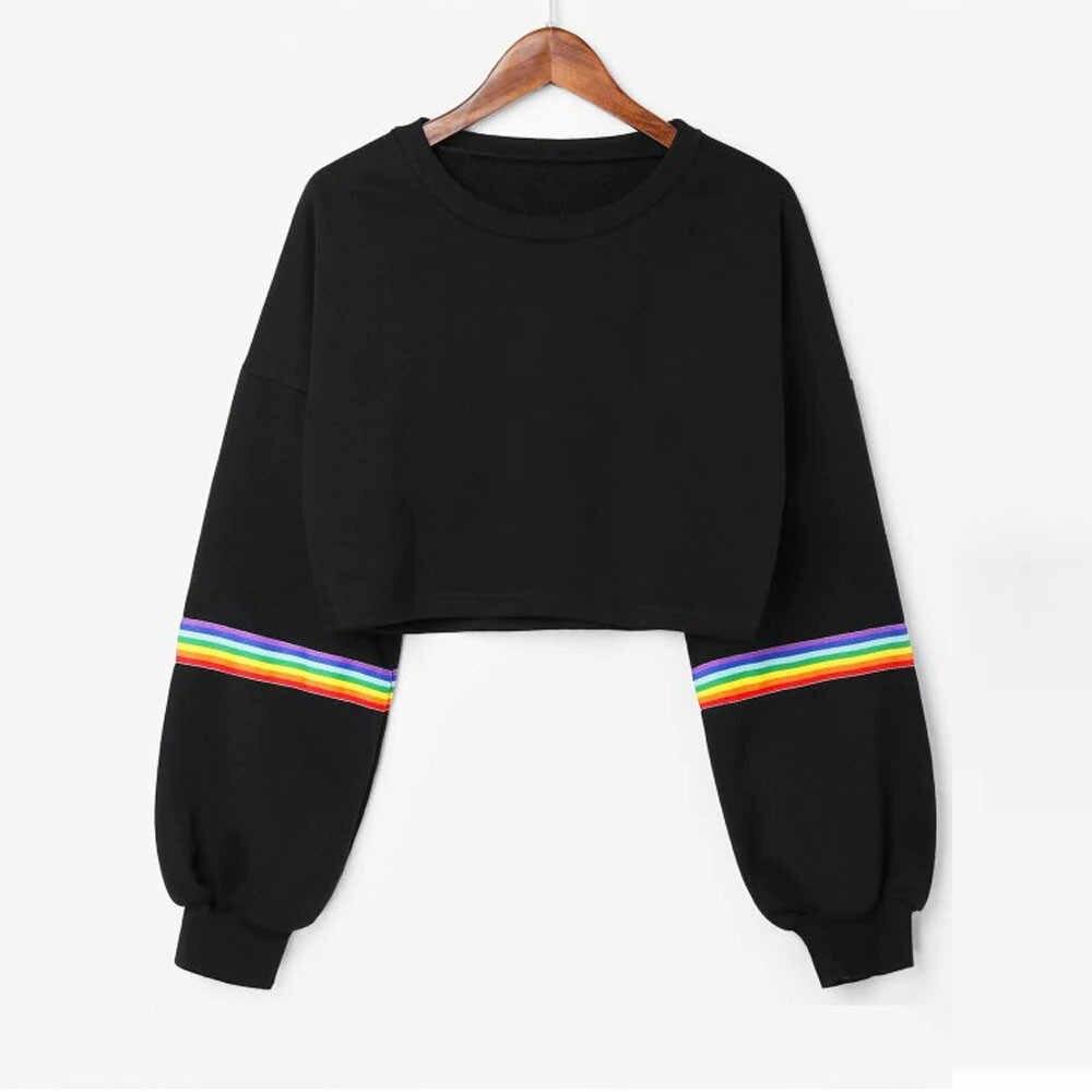 Lato kobiet z długim rękawem krótki, w paski tęczowe paski krotka bluza Jumper czarny sweter Top пуловер